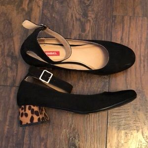 Black with leopard print block heel Mary Janes